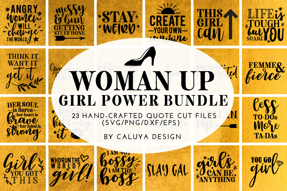 Woman Up Girl Power SVG Cut File Bundle example image 1