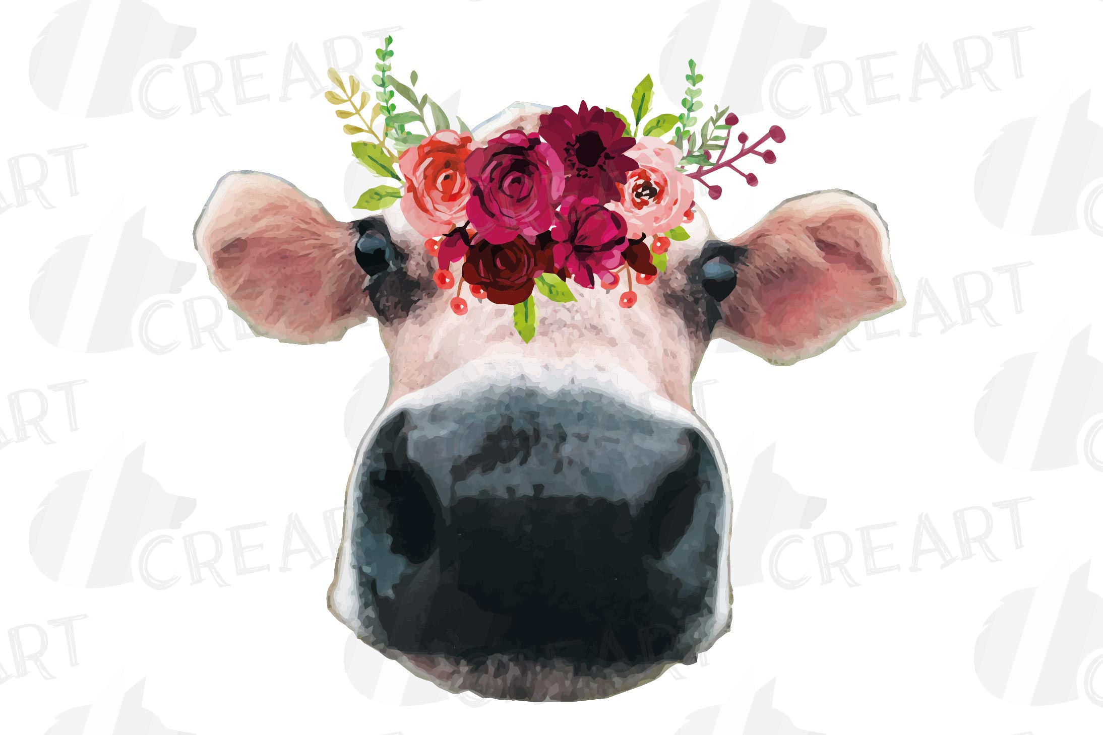 Not today Heifer printable floral burgundy decor, floral cow example image 10