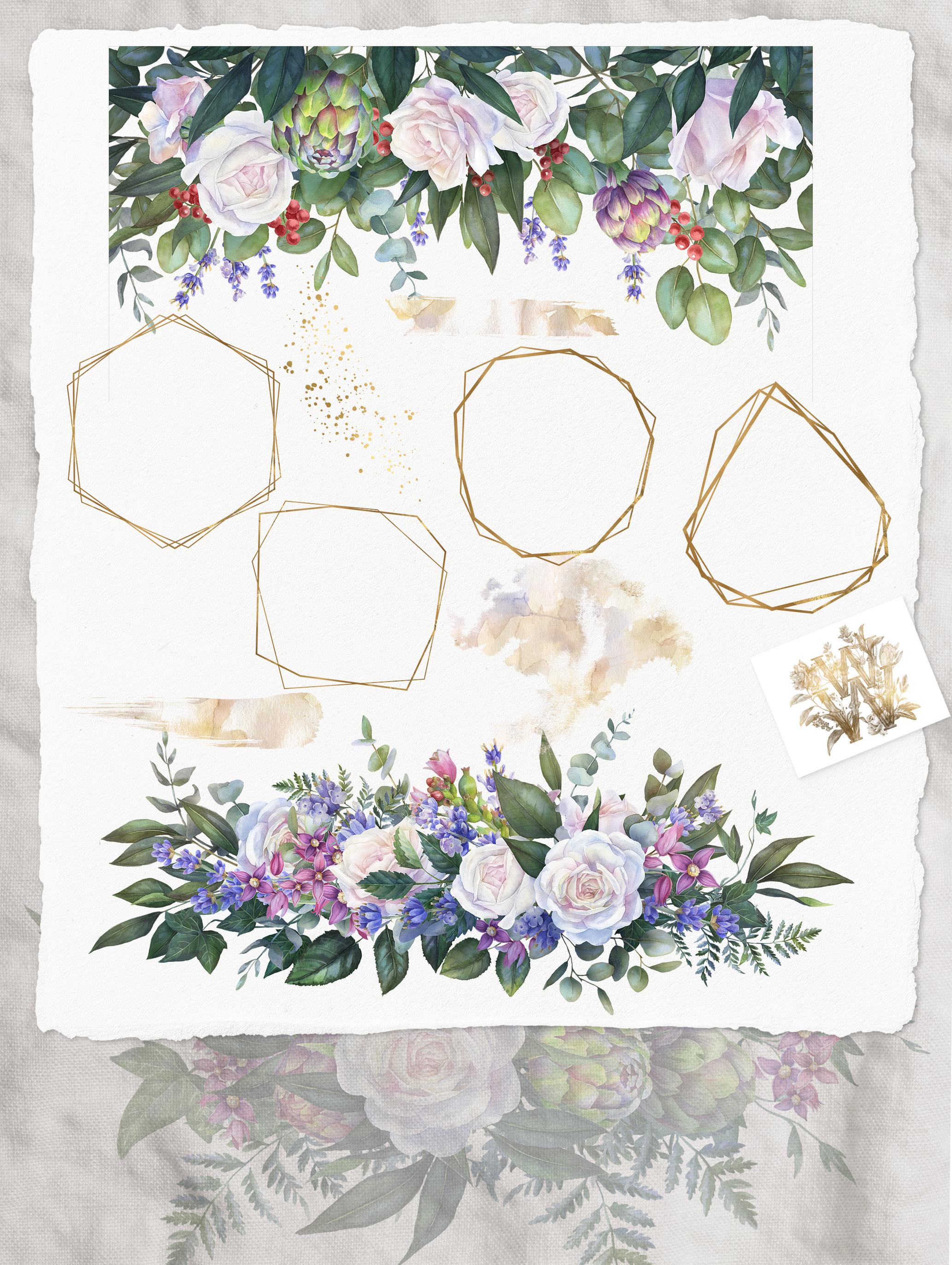 White rose wedding frame clip art example image 3