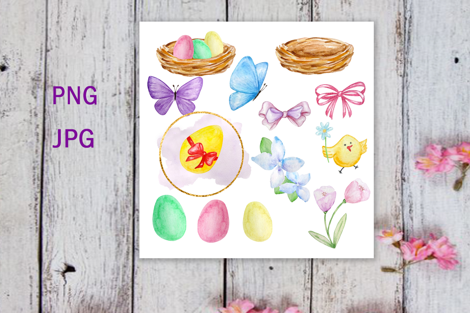 Watercolor Easter Cute Bunny Clipart Set example image 3