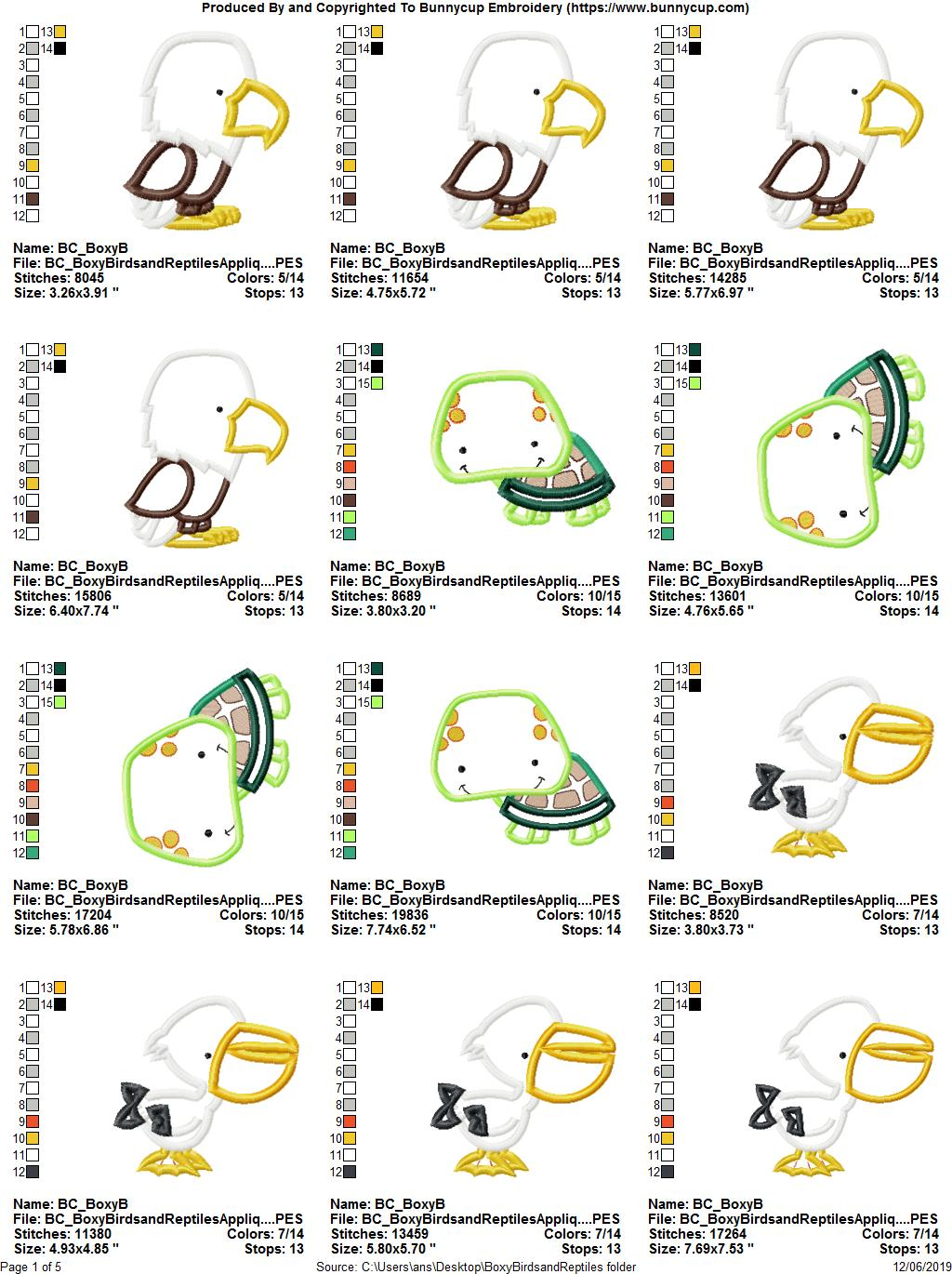 Boxy Birds And Reptiles Applique - 13 Embroidery Designs example image 15