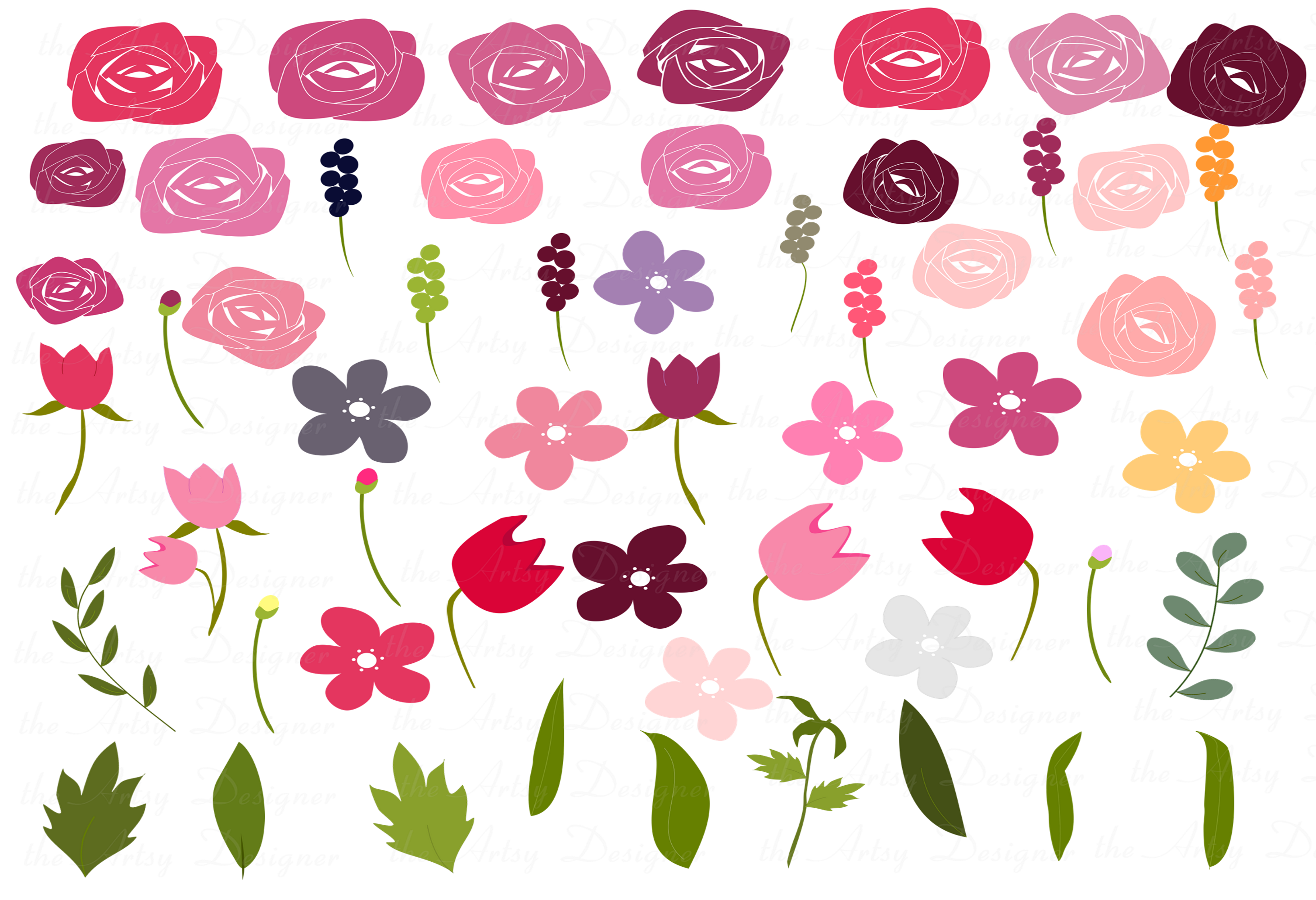 Burgundy Maroon Pink Floral Roses Sublimation Clipart Bundle example image 3