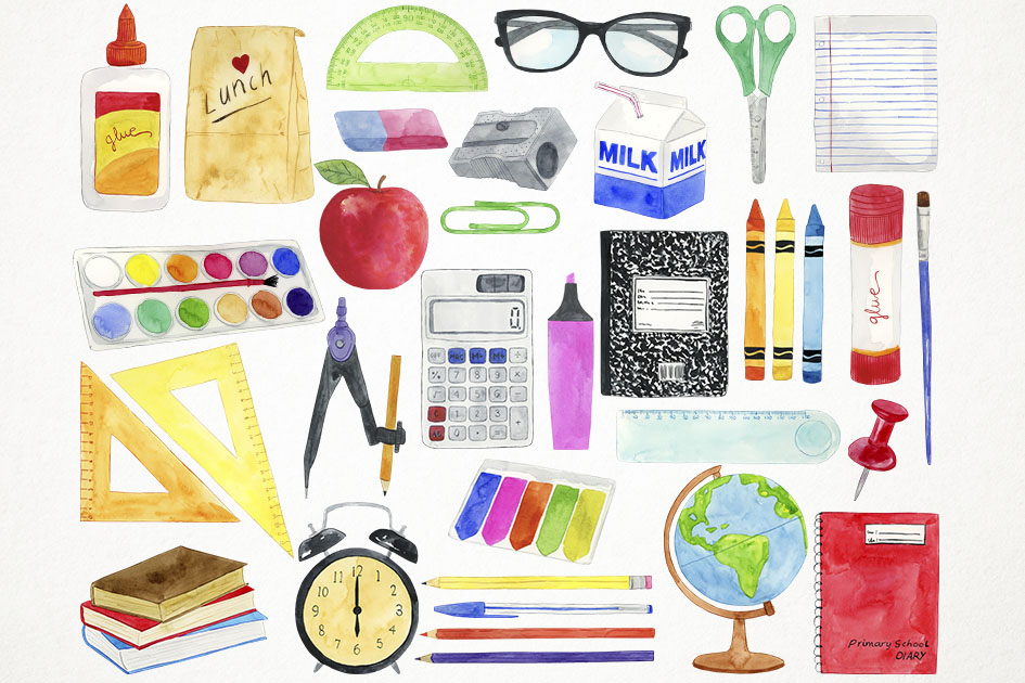 Watercolor School Clipart, Education Clipart, Teacher (945 x 630 Pixel)