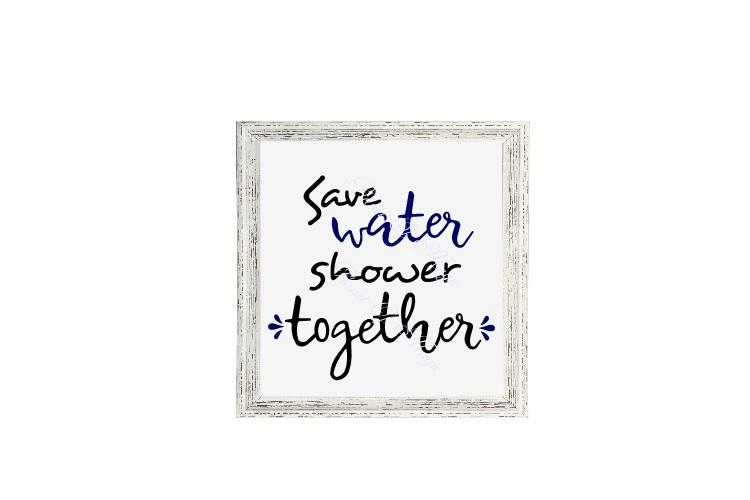 Save Water Shower Together Svg, Bathroom Sign Svg example image 2