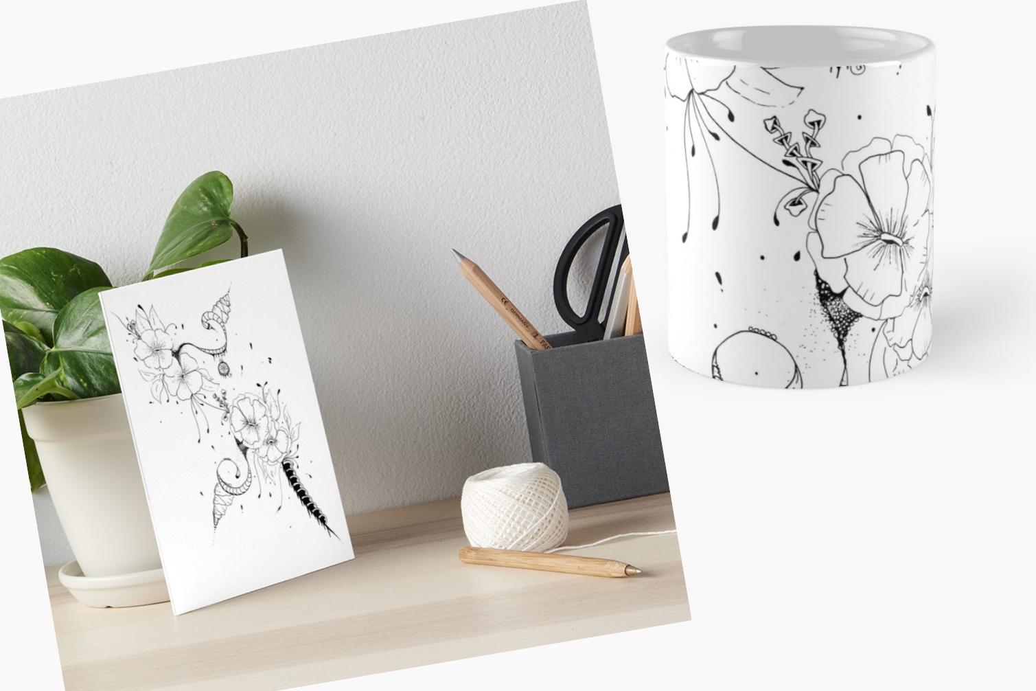 black bunch floral Doodle Art A1, SVG example image 7