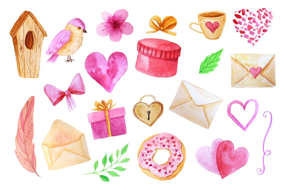 Watercolor Valentines Day Collection  example image 2