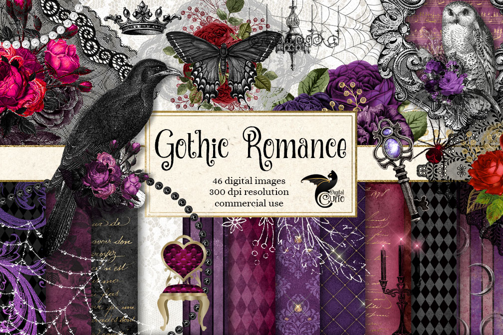 Gothic Romance Digital Scrapbooking Kit example image 1