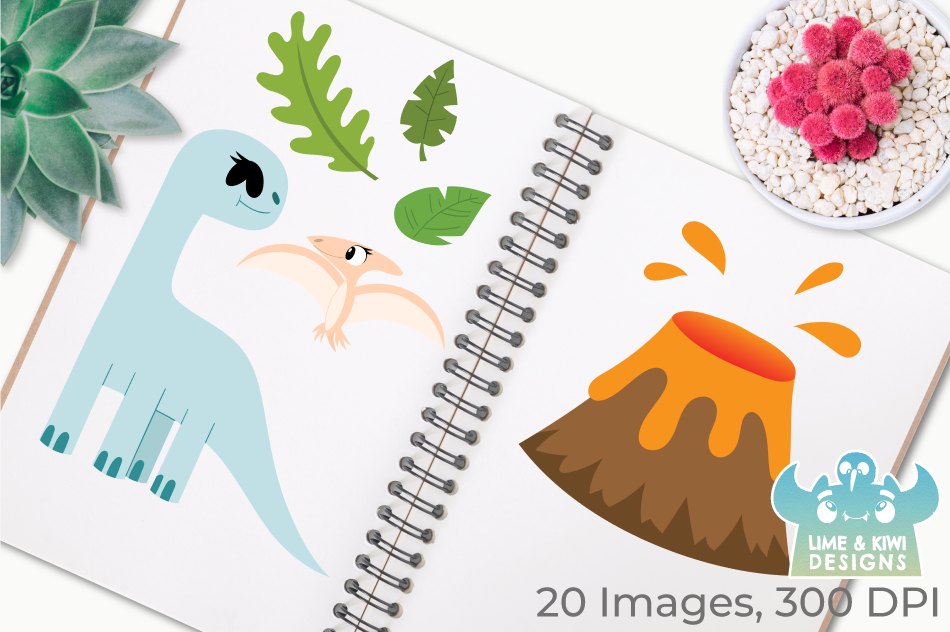 Dinosaur Girls Clipart, Instant Download Vector Art example image 3