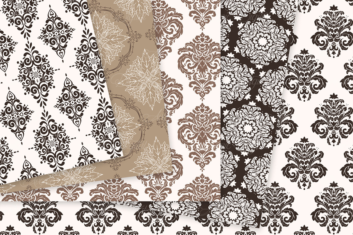 Brown Damask Patterns - Seamless Digital Papers example image 9