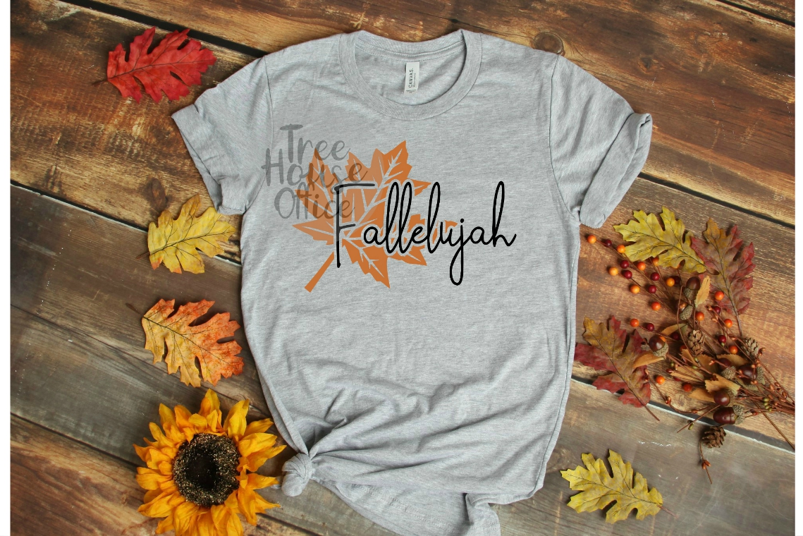 Fallelujah Happy Fall Leaf Autumn Leaves SVG PNG JPEG DXF example image 3