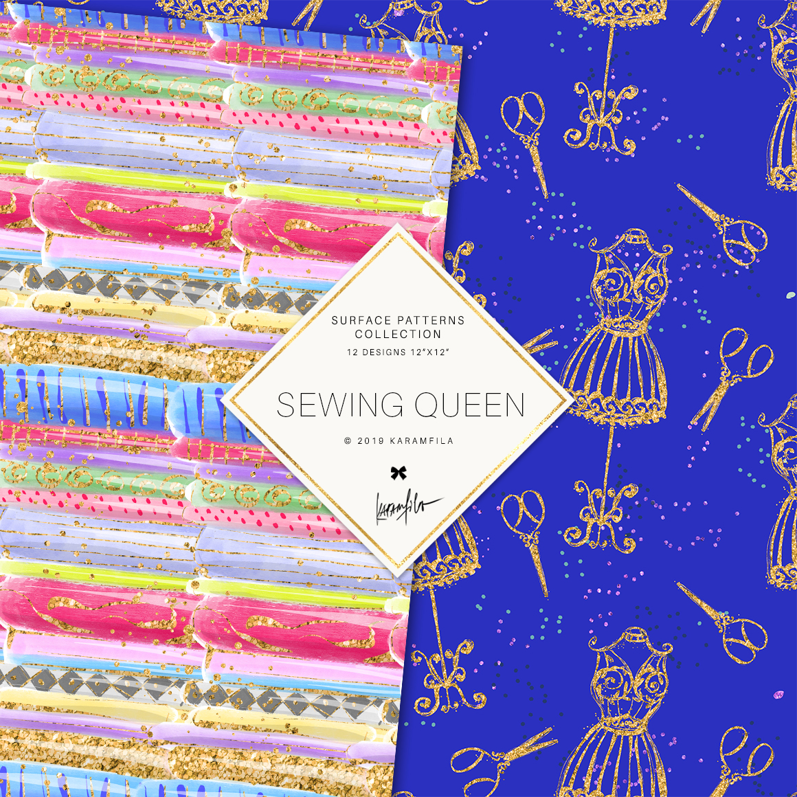 Sewing Girl Digital Paper example image 2