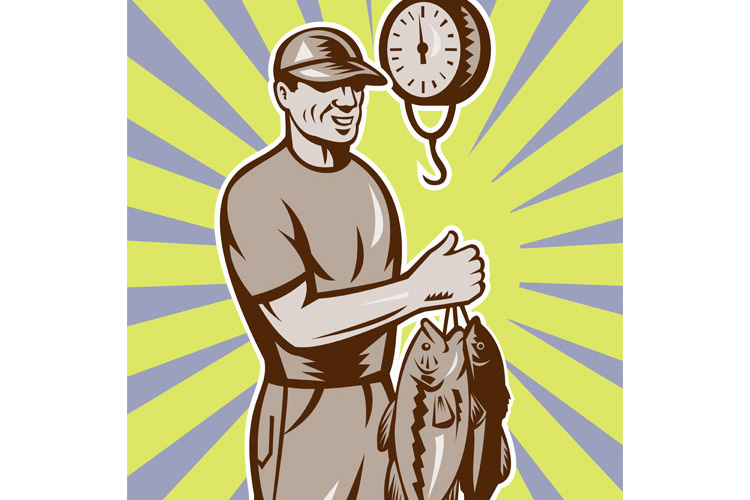 Fly Fisherman weighing in fish catch example image 1