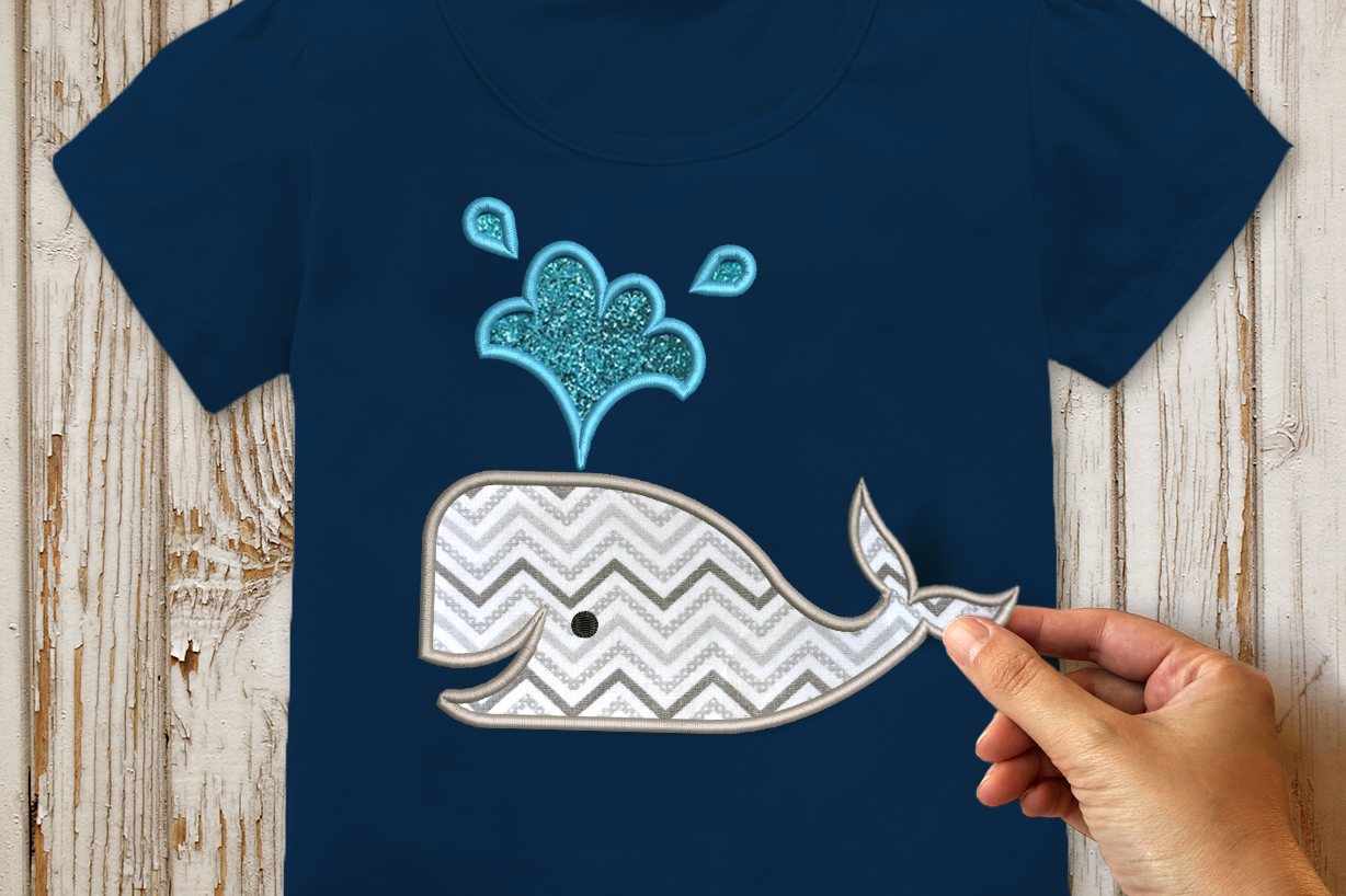 Whale with 3D or Regular Tail Applique Embroidery Design example image 1
