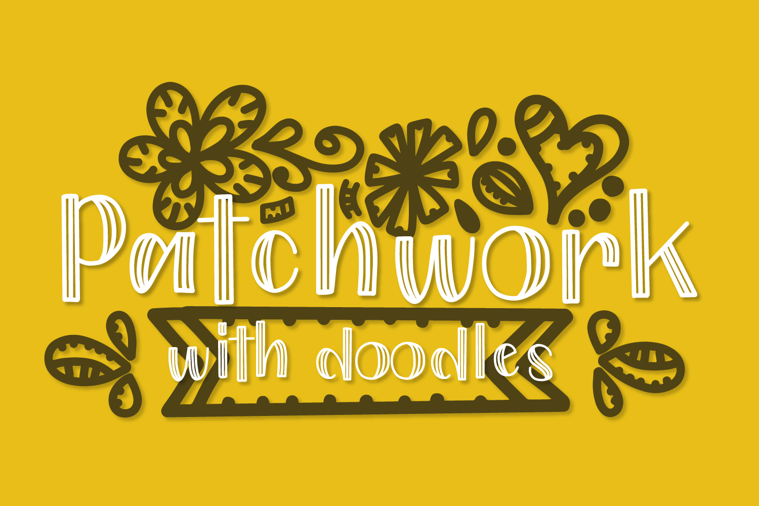 Patchwork - Double Inline With Doodles Font Duo example image 5