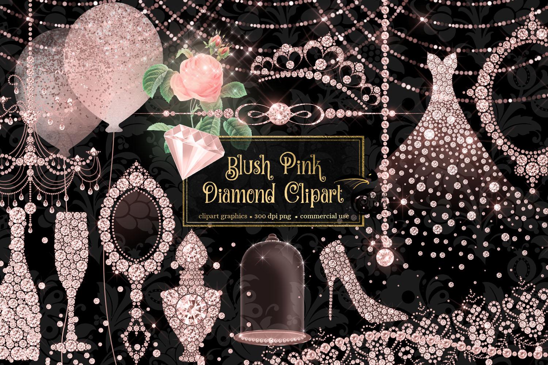 Blush Pink Diamond Clipart example image 1
