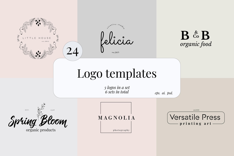 Minimal Premade Logo sets, feminine and minimal example image 2
