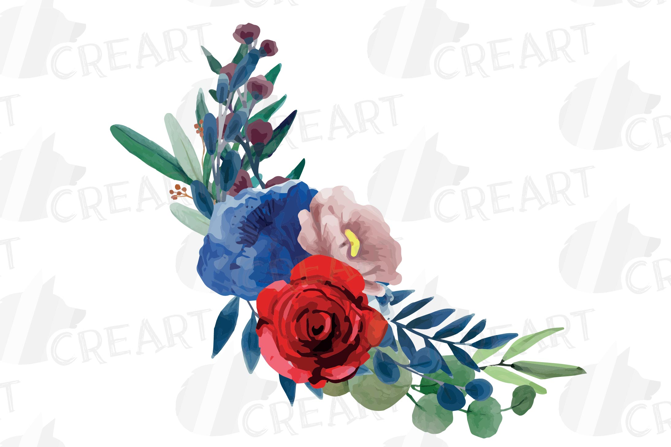 Colorful navy and burgundy floral watercolor wedding bouquet example image 7