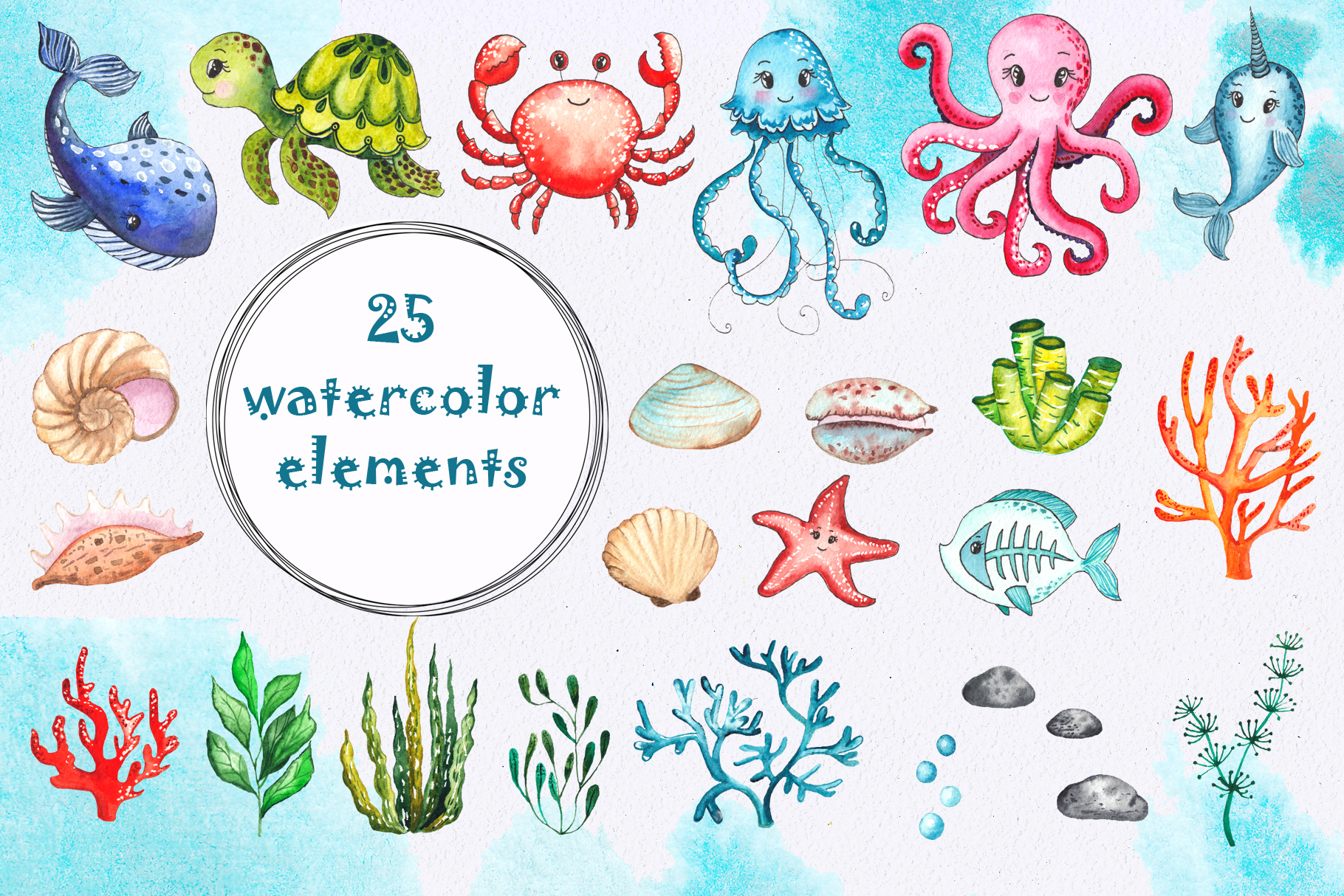 Little OCEAN creatures. Watercolor collection example image 13