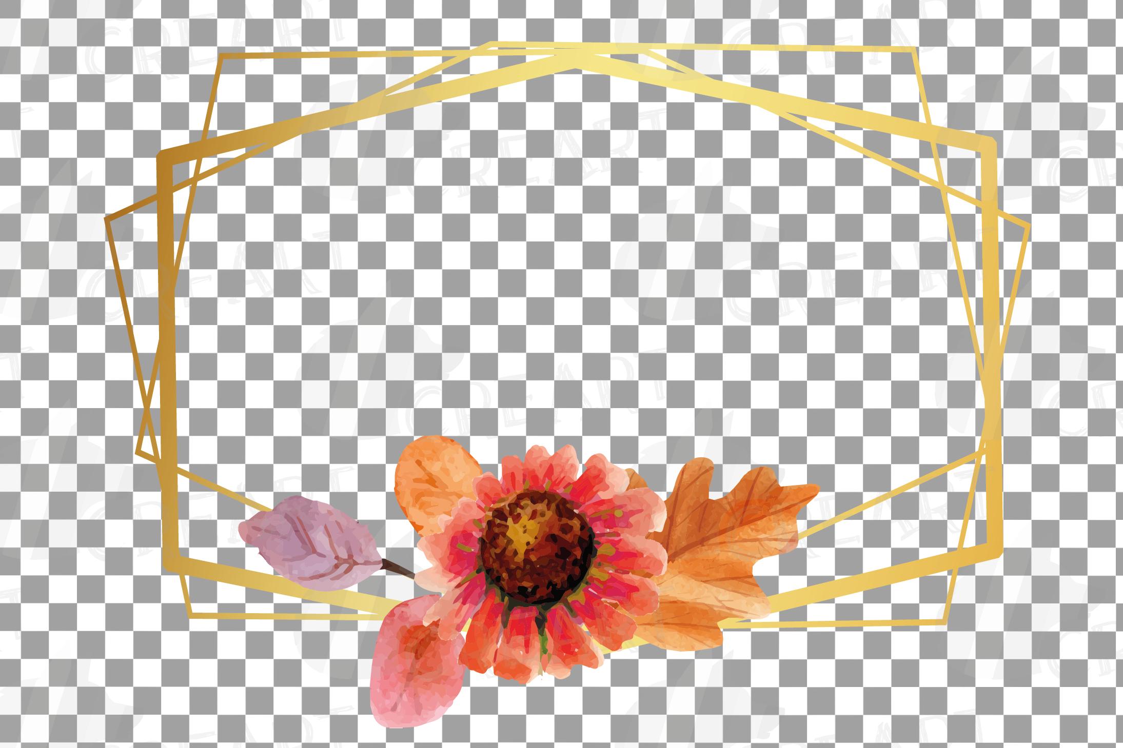 Watercolor elegant autumn geometric golden frame templates. example image 20