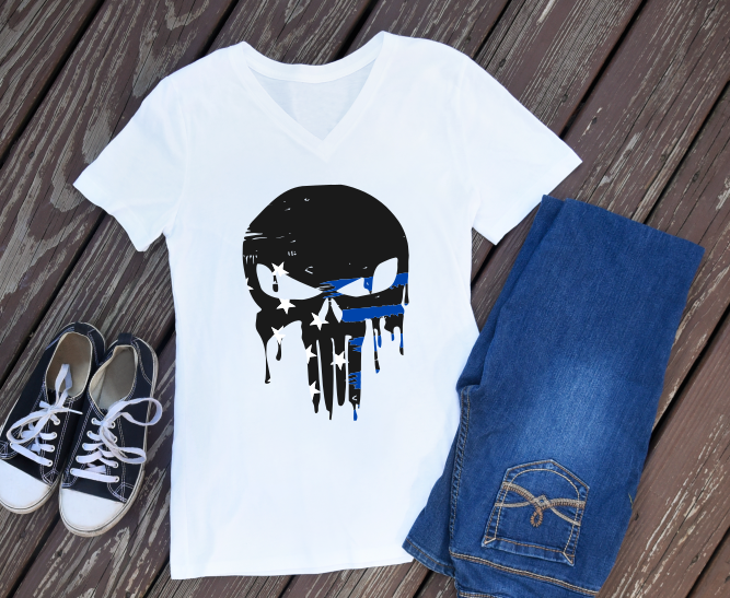 skull thin blue line distressed ombre example image 1