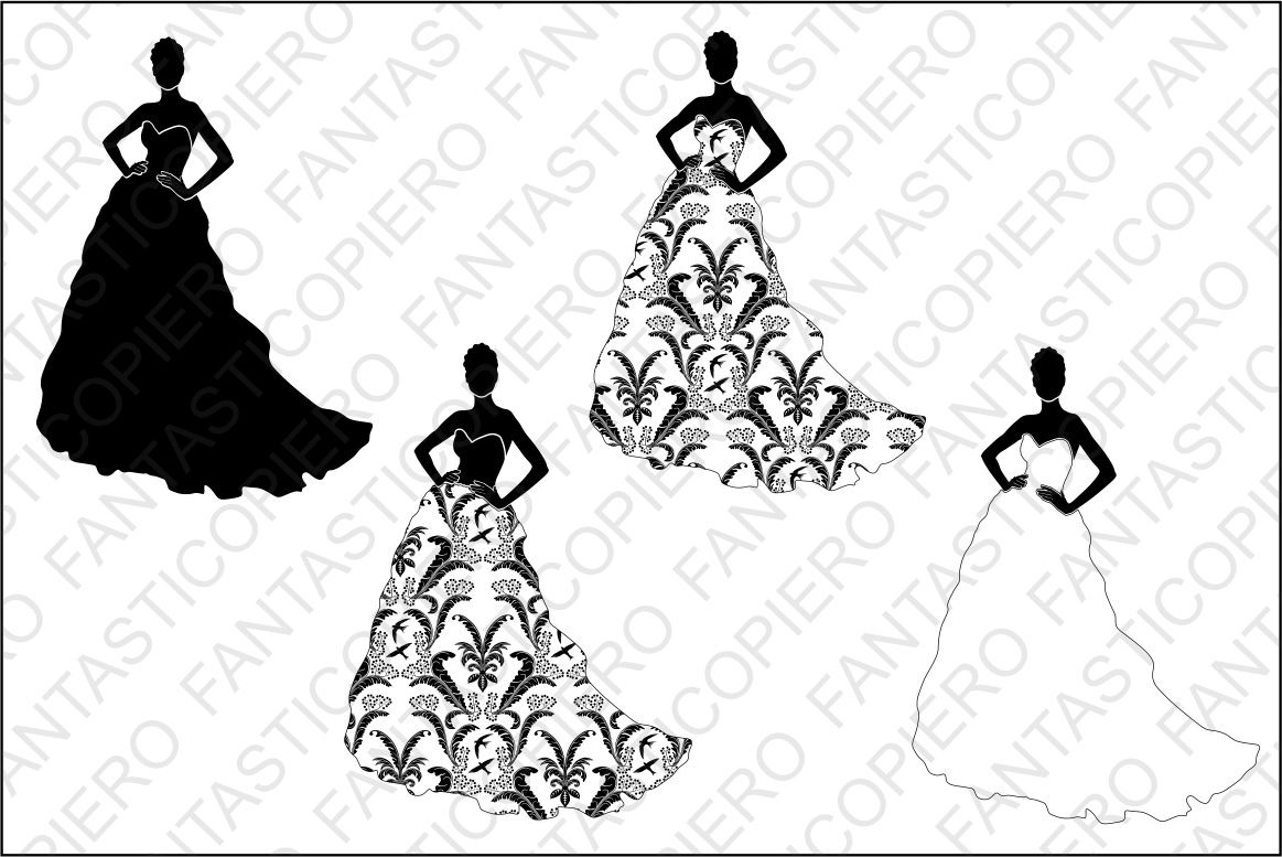Woman in dress 1 SVG and PNG transparent files. example image 1