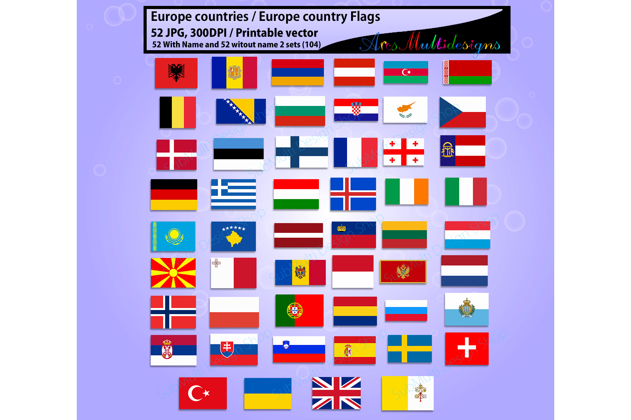 Europe countries / Europe country Flags / country flag / 300DPI / Vector flags / flag clipart and silhouette / printable flag/ digital flag example image 3