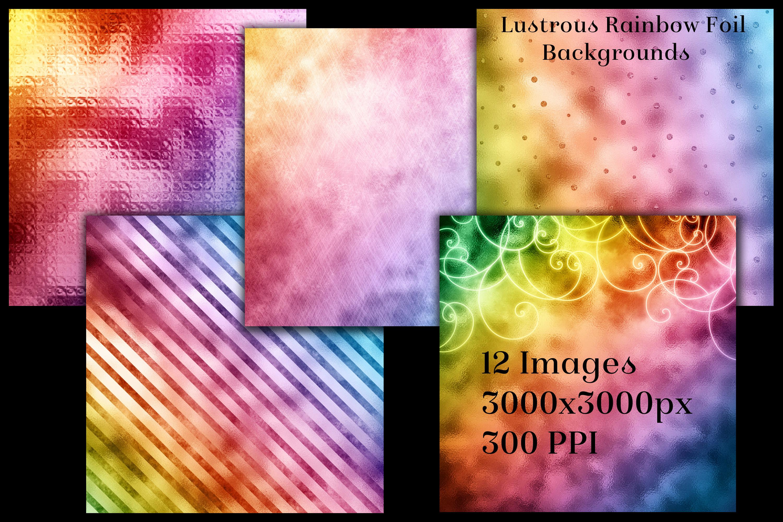 Lustrous Rainbow Foil Backgrounds - 12 Image Textures Set example image 2
