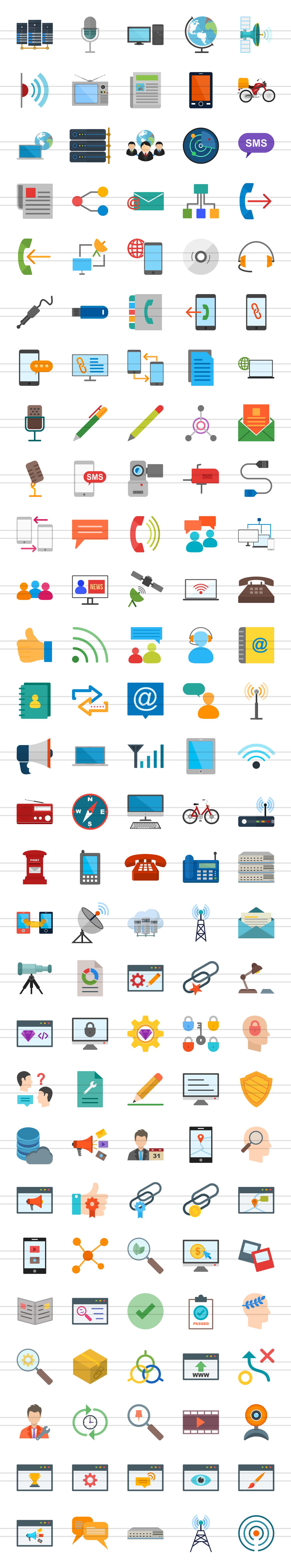 140 IT & Communication Flat Icons example image 3