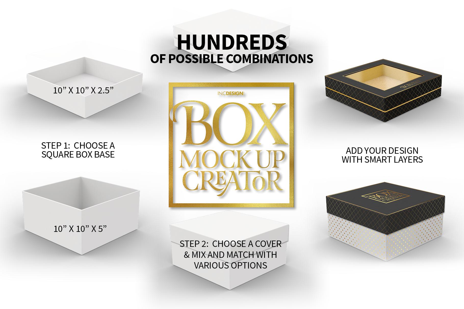 Square Box Packaging Mockup Creator example image 2