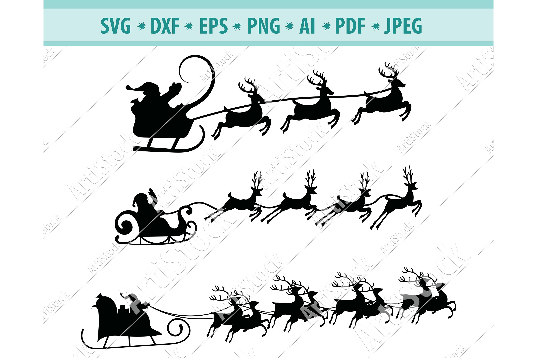 Christmas SVG, Santa sleigh SVG, Reindeer svg, Dxf, Png, Eps example image 1