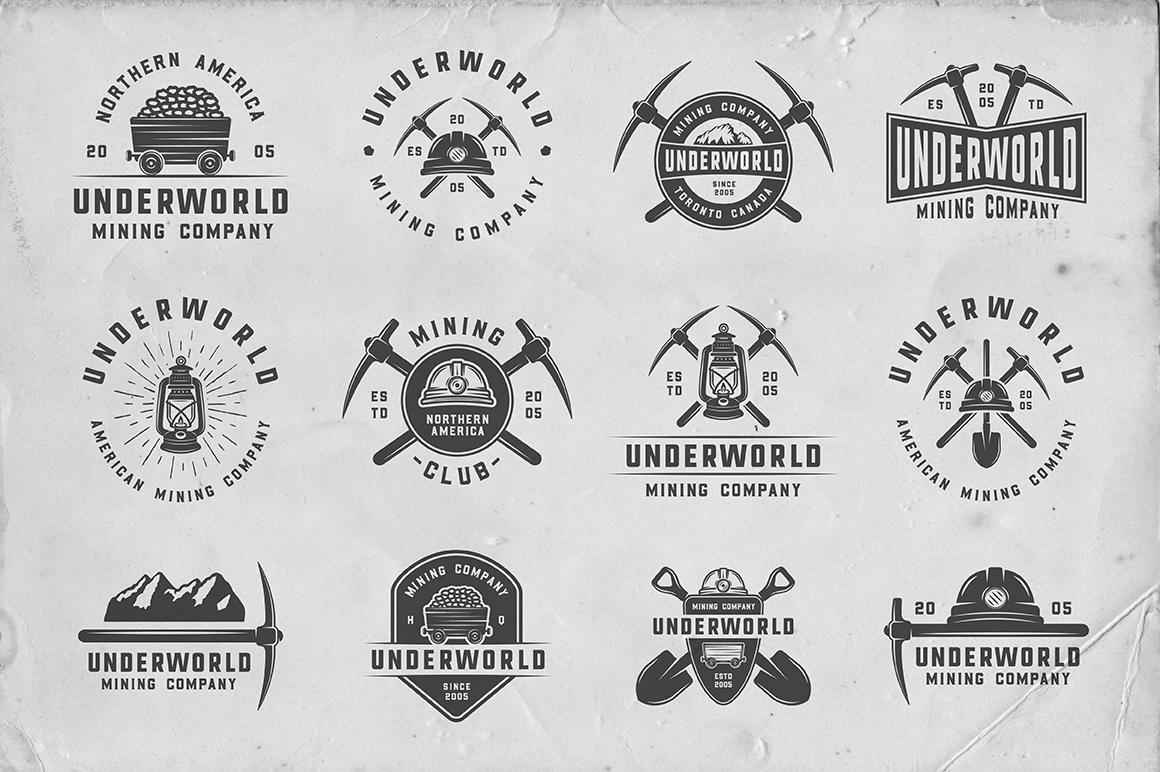 36 Vintage Mining Emblems part 2 example image 2