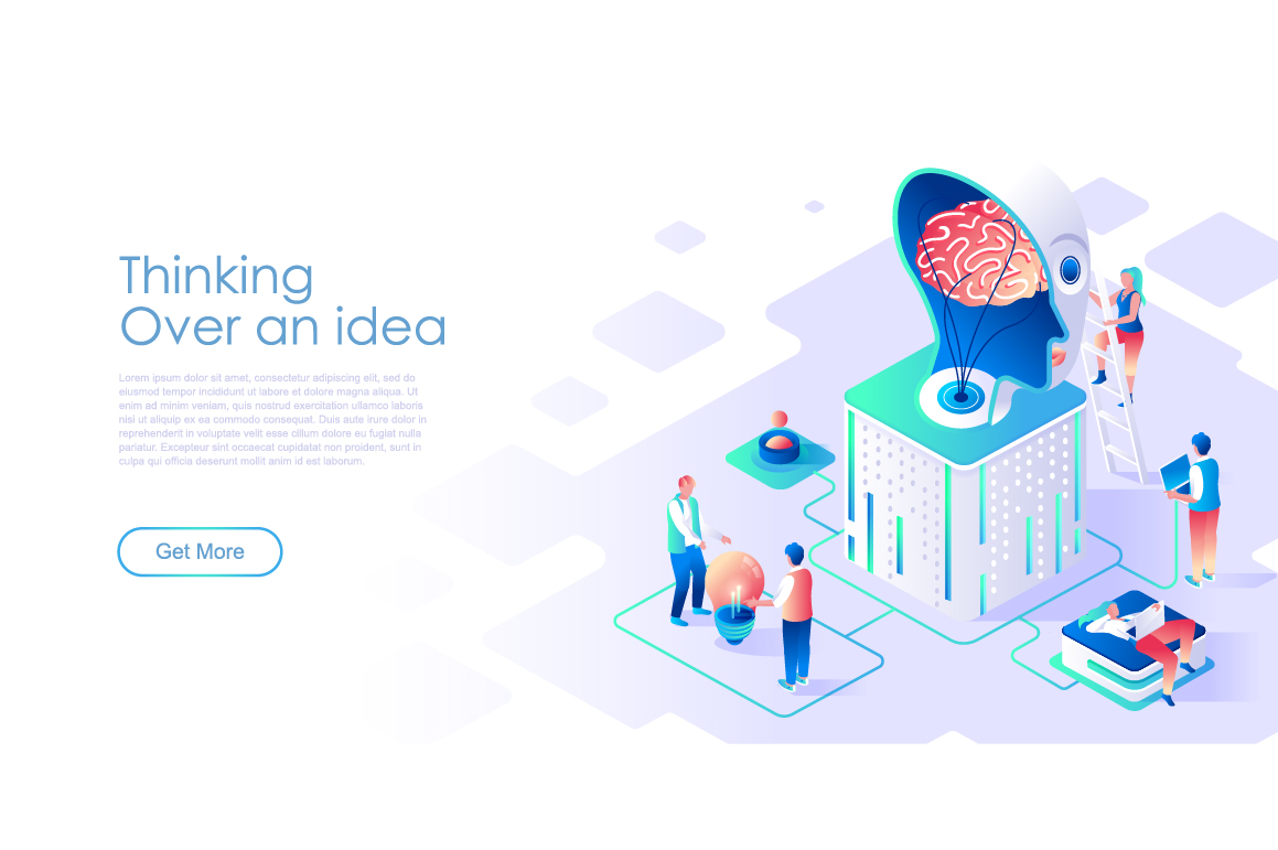 Bundle Isometric Landing Page Template Header example image 14