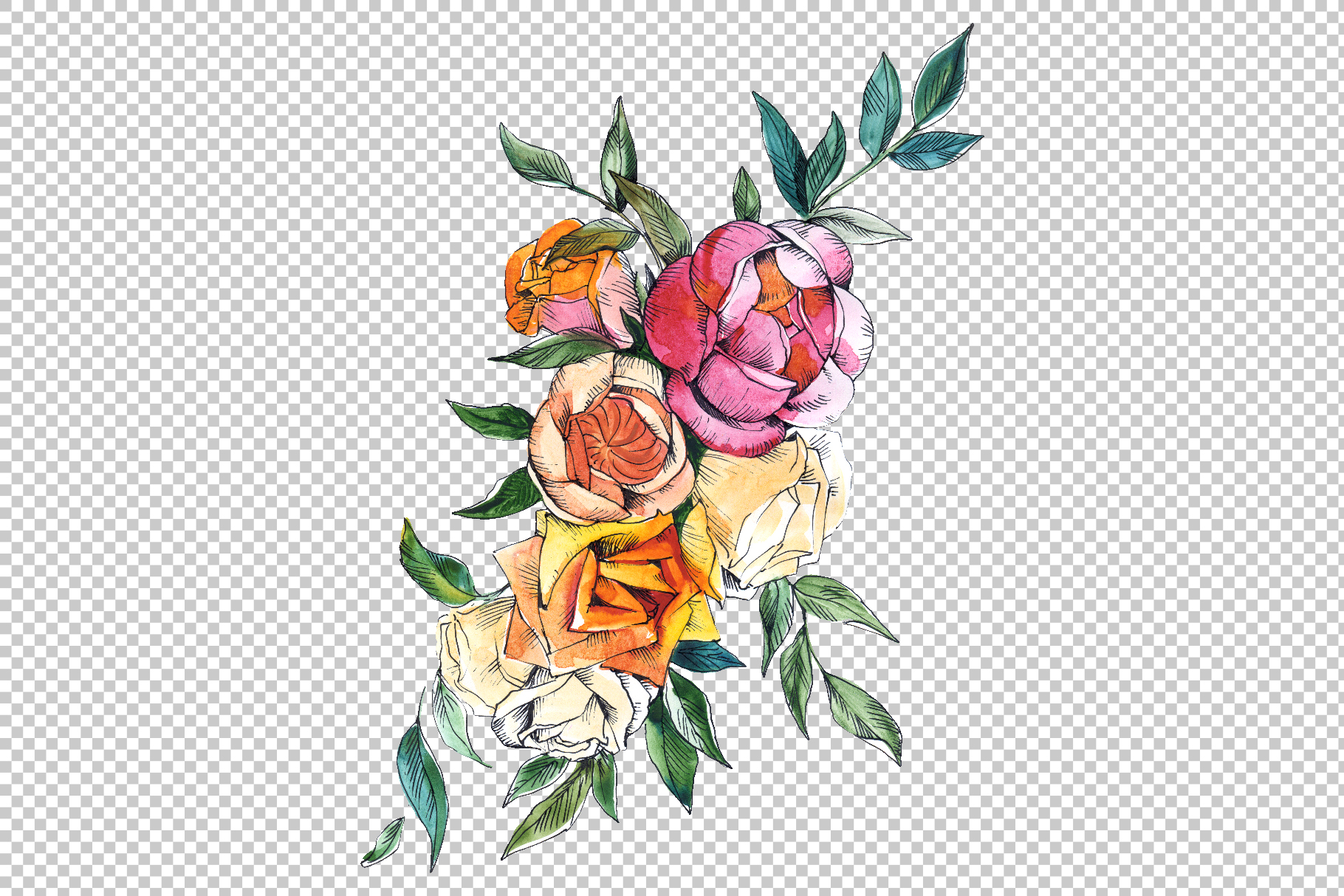 Bouquets with wildflowers, Roses, leaves Watercolor png example image 7