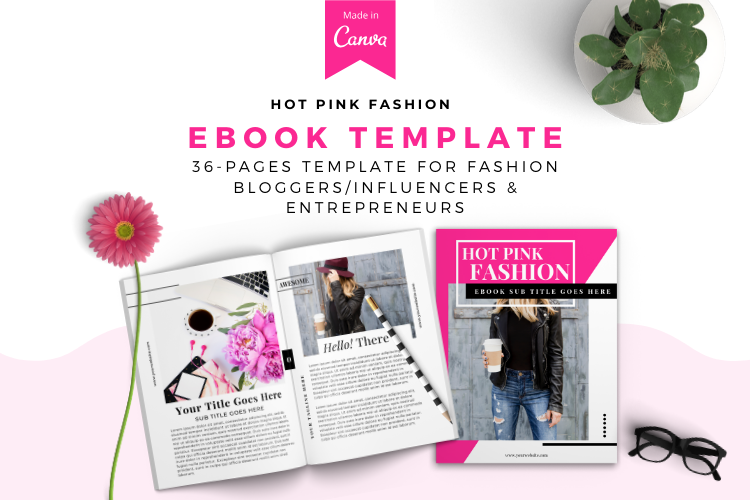 Hot Pink Fashion Canva template Ebook example image 1