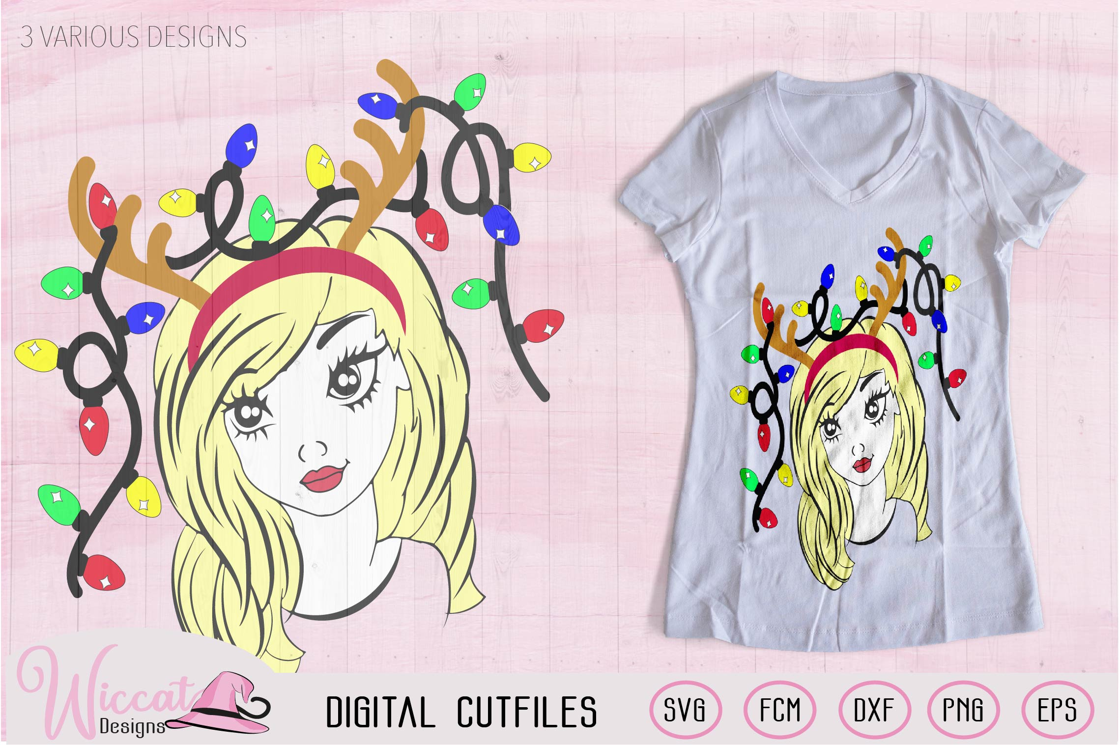 Christmas lights svg, Girl face svg, Line art girl, antlers example image 3