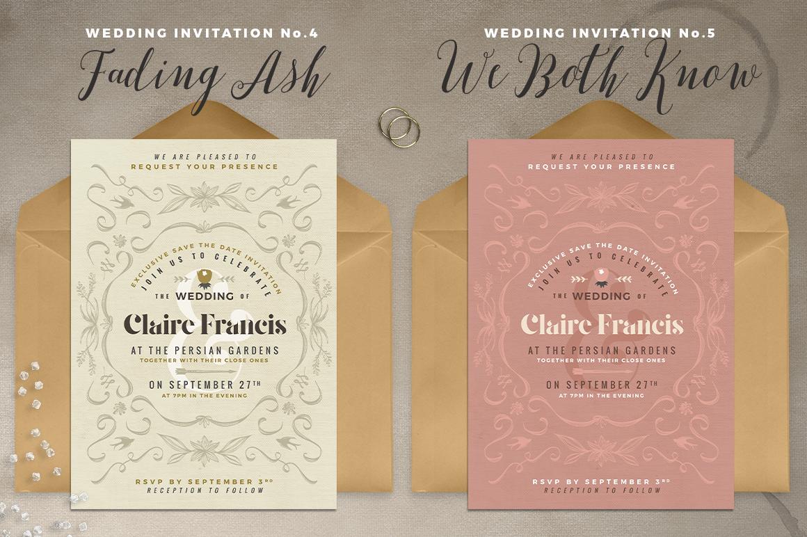 7 Vintage Deco Wedding Invitations I example image 4