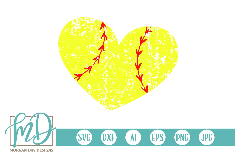 Grunge Softball Heart SVG, DXF, AI, EPS, PNG, JPEG example image 1