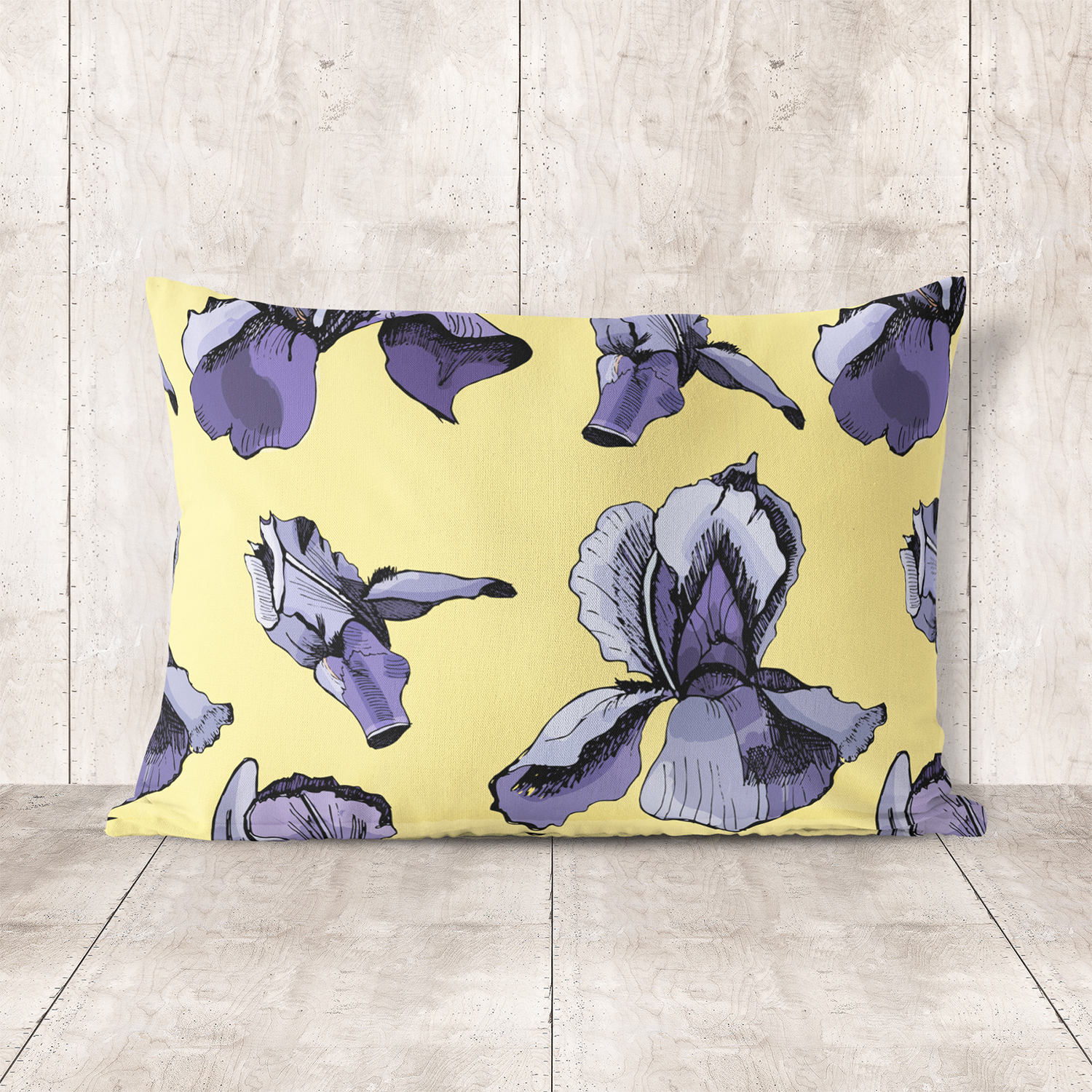 Collection with sketches of iris flowers and seamless patterns.  example image 9
