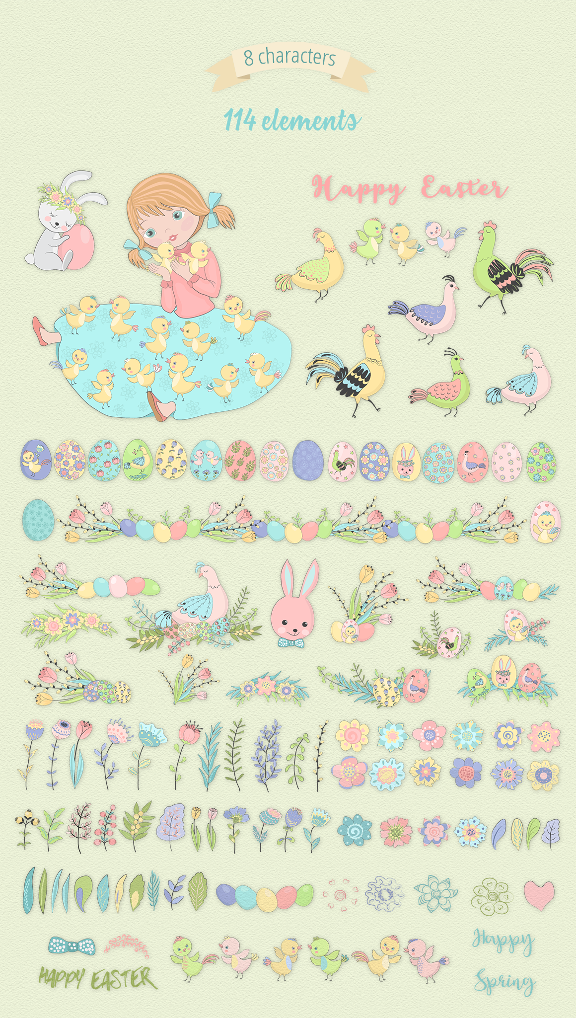 Happy Easter Illustration Set example image 6