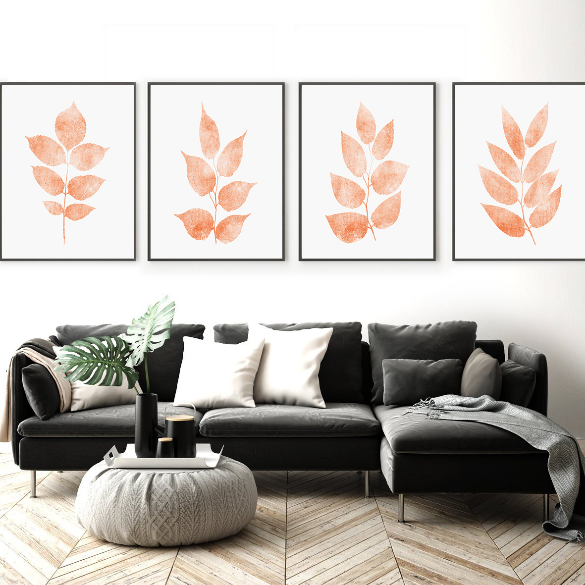 Coral Print Sets, Botanical Print Set of 3, Leaf Wall Art example image 2
