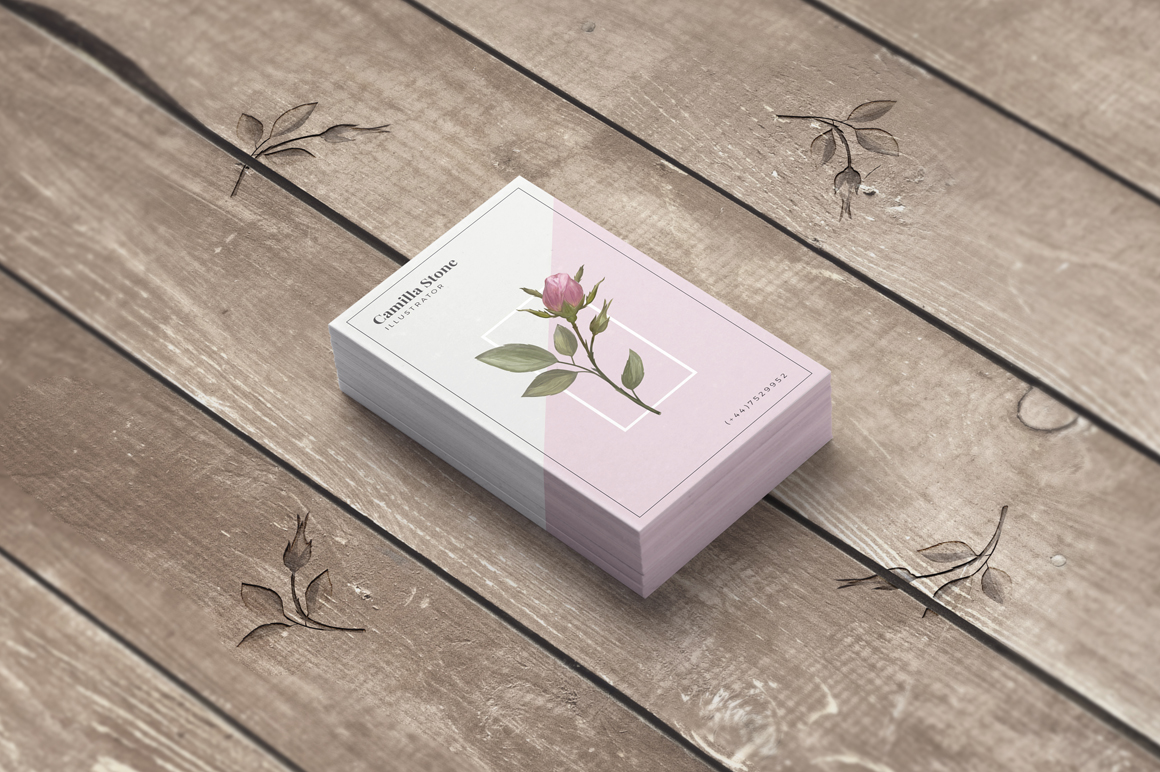 Pink Rose Business Card Template example image 3