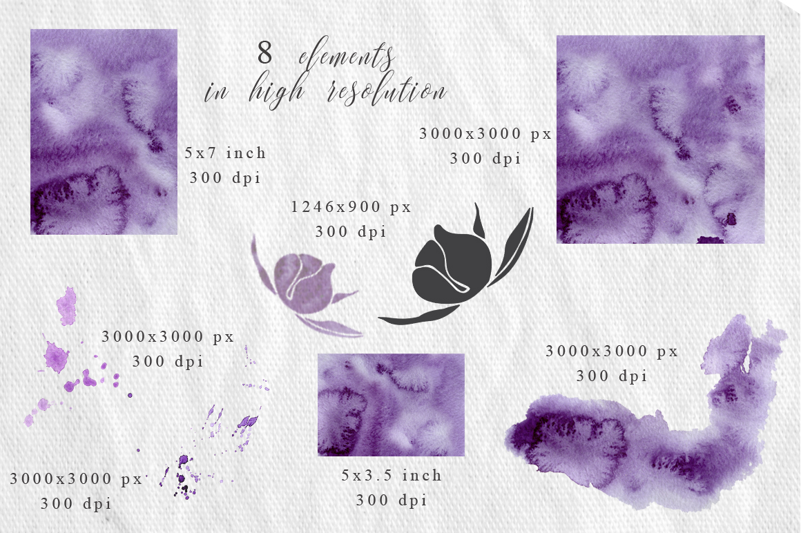 Ultra Violet Watercolor Wedding Invitation suite example image 5
