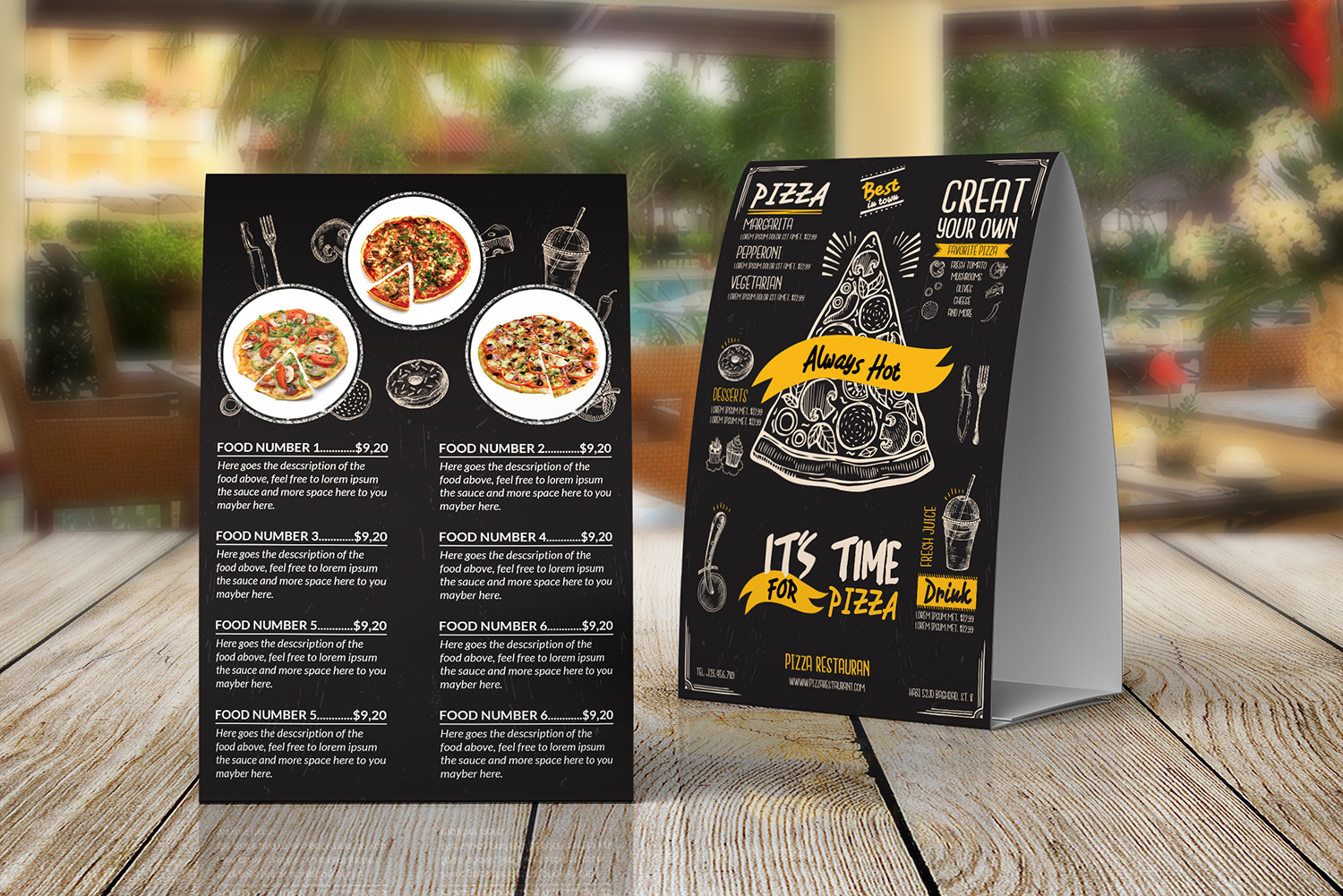 Pizza Food menu Table Tent Template example image 2