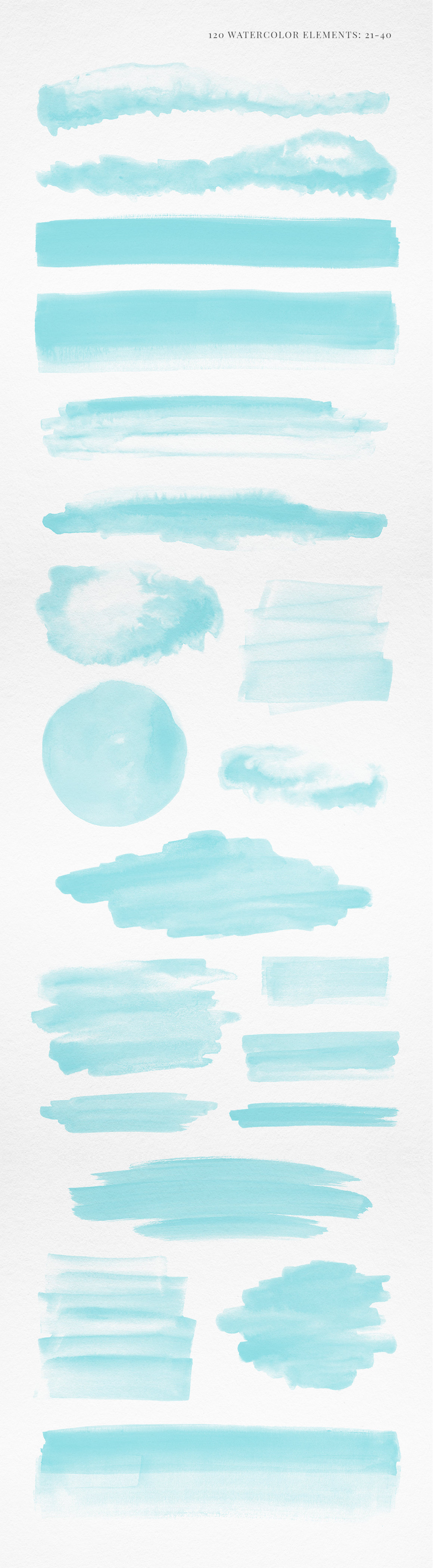 120 Turquoise Blue Watercolor Texture Elements example image 3