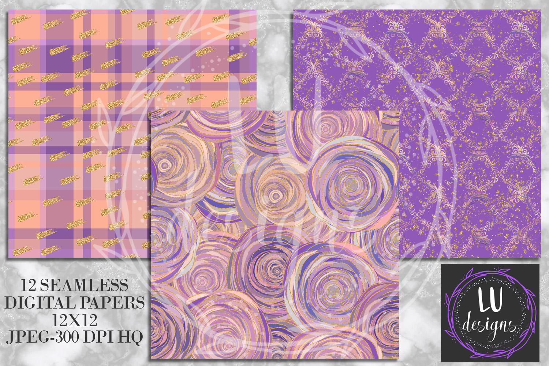 Floral Glitter Digital Paper Pack, Purple Floral Wedding Backgrounds example image 4