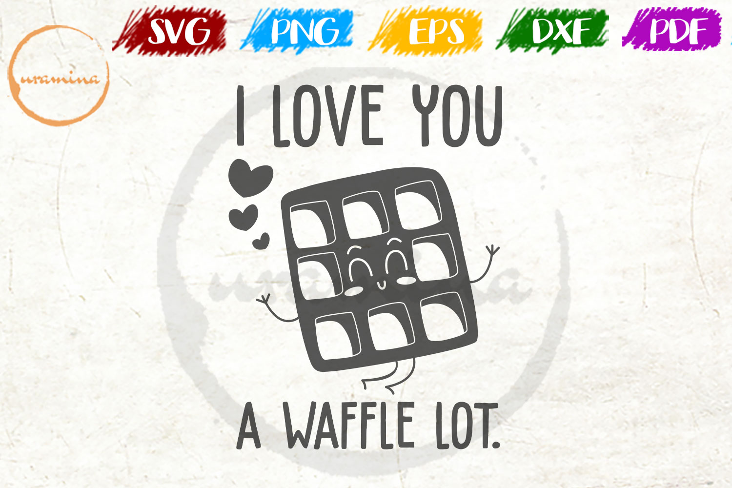 I Love You A Waffle Valentine SVG PDF PNG example image 1