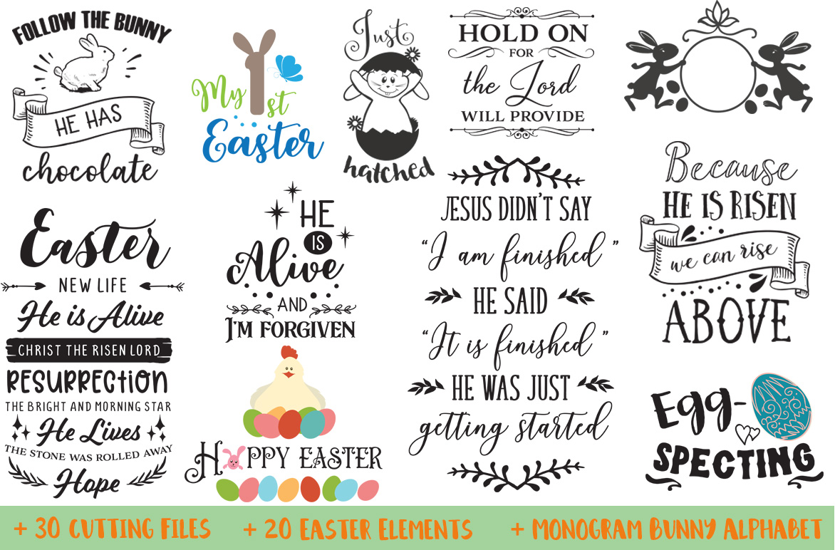 The Easter Bundle - 30 Cutting Files and Extras! example image 2