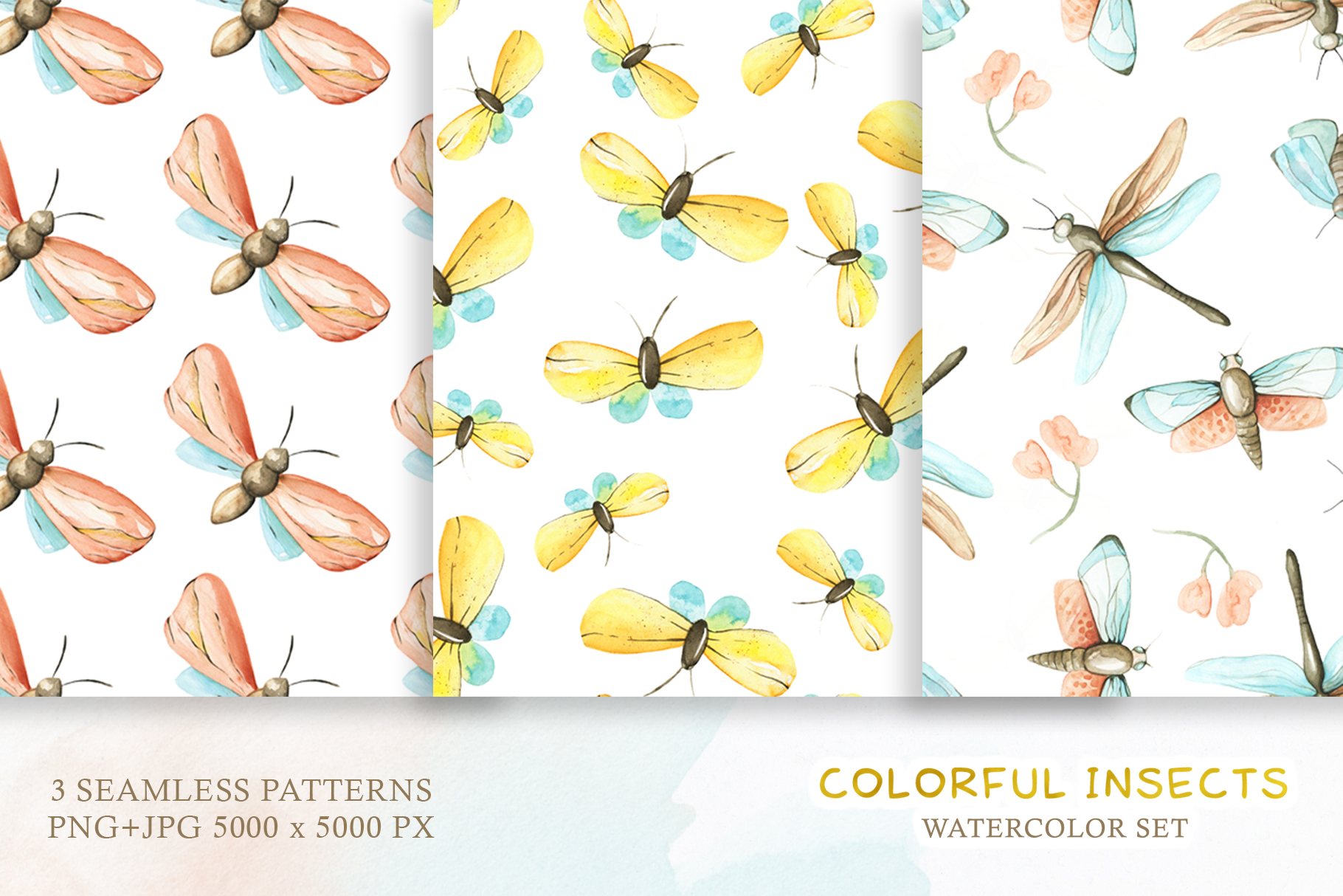 Watercolor Set Colorful Insects example image 3