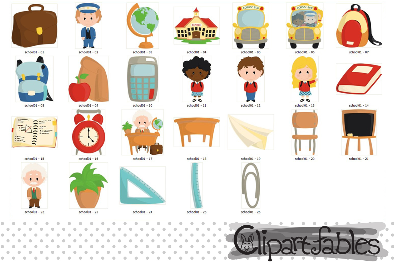 Back to School clipart, Educational Clip art, School bus art example image 2
