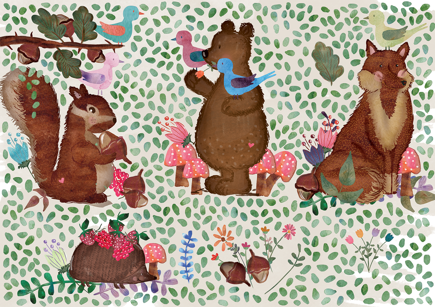 Cute Watercolor Forest Elements example image 2
